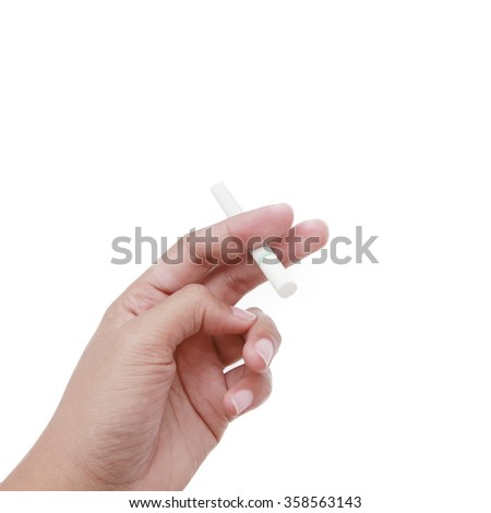 hands holding of the cigarette