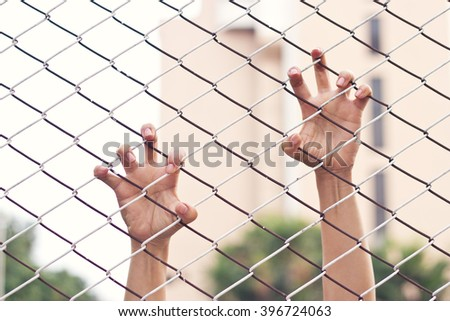 Hands of a woman on mesh cage, escape concept