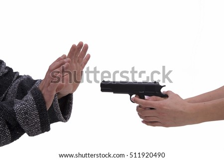 hands of woman and man with pistol Hand gun