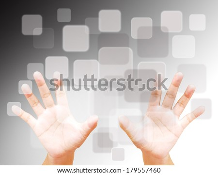 Hands palm  pressing modern social buttons