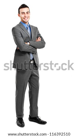 Handsome businessman full length portrait - stock photo