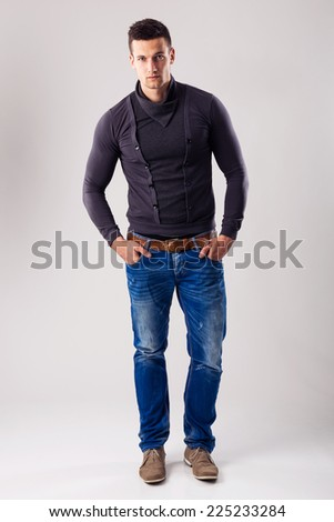 Handsome man - in the autumn-winter collection - stock photo