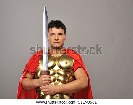 Handsome roman legionary soldier