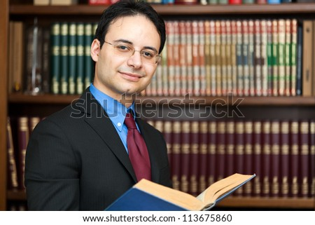 Handsome successful lawyer portrait - stock photo