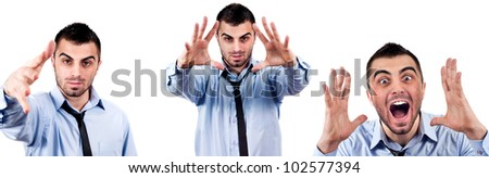 Handsome young   man with tie in different poses.Reaching or waving hand, concept of executive yelling, conversation problem communication crisis,anger,frustration.Isolated on white background - stock photo