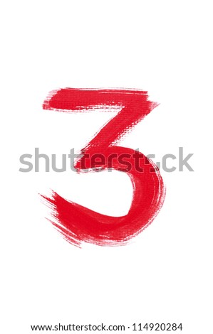 3-Handwritten Watercolor number isolated on white background - stock photo