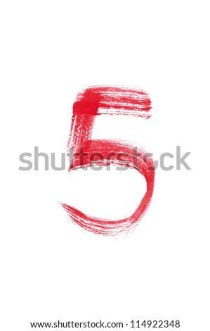 5-Handwritten Watercolor number isolated on white background - stock photo