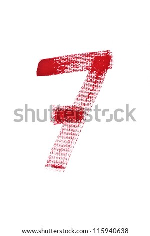 7-Handwritten  Watercolor number isolated on white background - stock photo