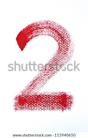 2-Handwritten  Watercolor number isolated on white background - stock photo