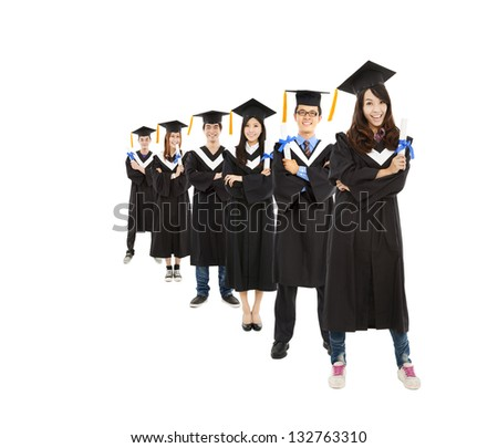 happy  asian young graduate students group - stock photo
