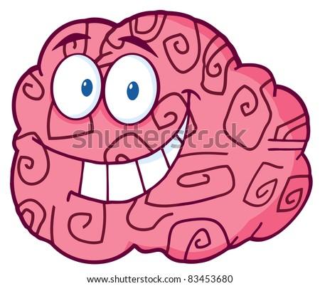 Happy Brain Cartoon Character - stock photo