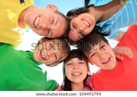 Happy children in circle
