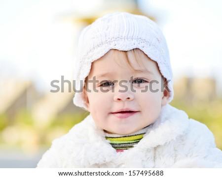 happy face of baby girl - stock photo
