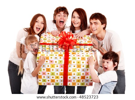 Happy family with big gift box. Isolated. - stock photo