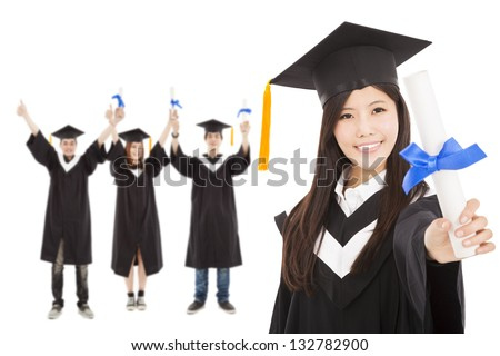 happy  graduate girl and  students - stock photo