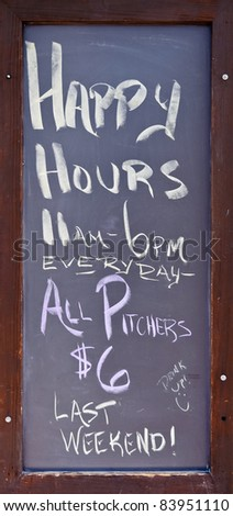 """Happy Hours"" vintage restaurant blackboard advertisement - stock photo"
