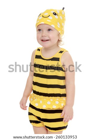 Happy joyful little girl dressed as a bee, close-up- isolated on white.