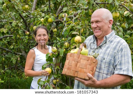 Happy mature  man and woman in apple garden.