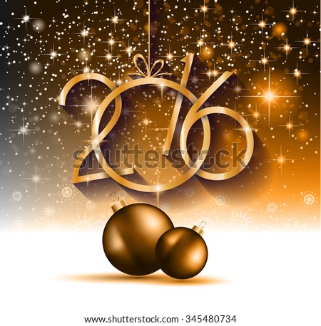 2016 Happy New Year and Merry Christmas Background for your seasonal wallpapers, greetings card, dinner invitations, pary flyers, covers and so on. - stock photo