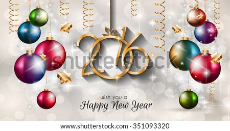 2016 Happy New Year Background for Seasonal Greetings Cards and Christmas Parties Flyer, Dinner Event Invitations, Xmas Cards and sp on. - stock photo