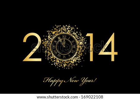 2014 Happy New Year background with gold clock - stock photo