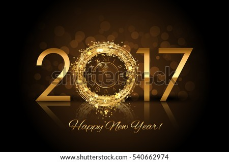2017 Happy New Year background with gold clock