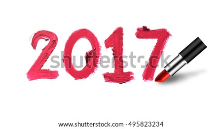 2017 Happy New Year background with lipstick