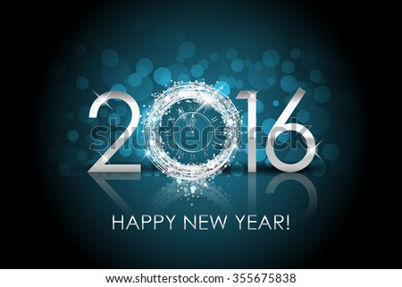 2016 Happy New Year background with silver clock - stock photo