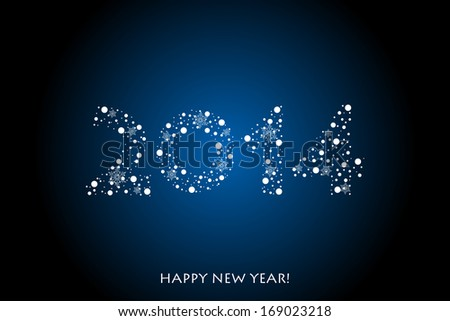 2014 Happy New Year background with snowflakes - stock photo