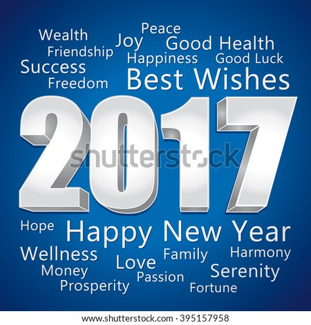 2017 Happy New Year. Best wishes. Blue and silver greeting card.  - stock photo