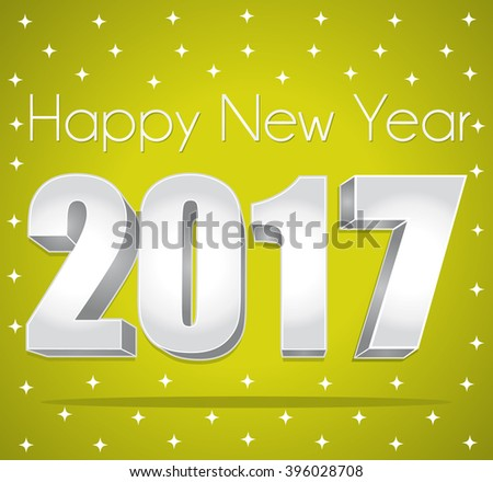 2017 Happy New Year. Best wishes. Green and silver starry greeting card. - stock photo