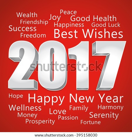 2017 Happy New Year. Best wishes. Red and silver greeting card.  - stock photo