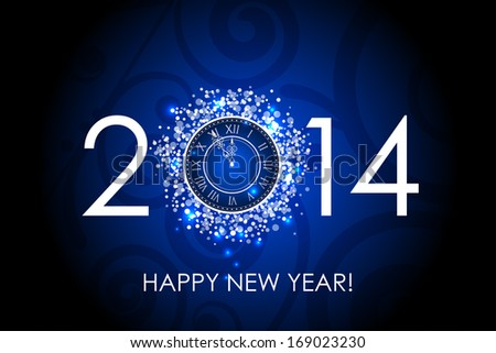 2014 Happy New Year blue background with clock - stock photo