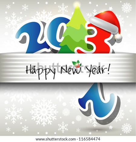 2013 Happy New Year card or background with Santa`s hat, snowflakes, stars.