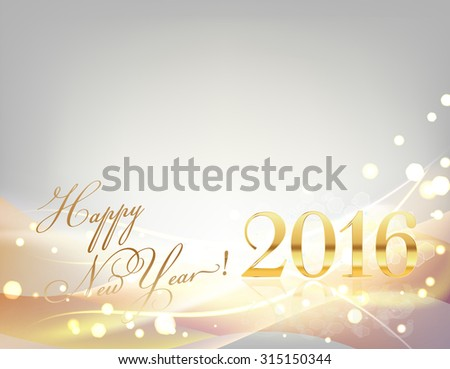 2016 happy new year card with sparkling gold lights, stripes, light waves, on gray. raster version - stock photo