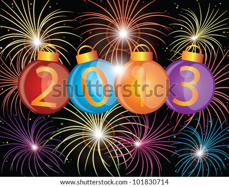 2013 Happy New Year Christmas Ornaments with Fireworks Display Background Illustration
