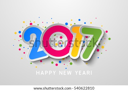 2017 Happy New Year colorful background