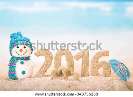 2016 happy new year concept with snowman - stock photo
