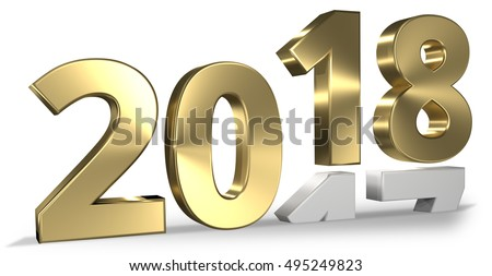 2018 happy new year 3d render