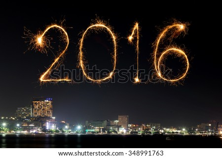 2016 Happy New Year Fireworks celebrating over Pattaya beach at night, Thailand