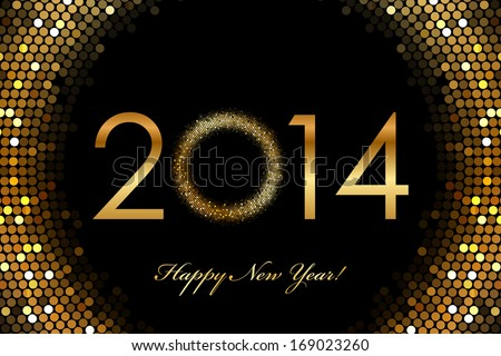 2014 Happy New Year 2014 glowing background - stock photo