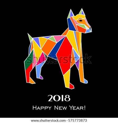 2018 Happy New Year greeting card. Celebration black background with dog and place for your text. Illustration