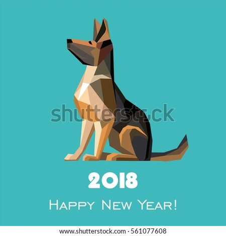 2018 Happy New Year greeting card. Celebration mint background with Dog German shepherd and place for your text. illustration