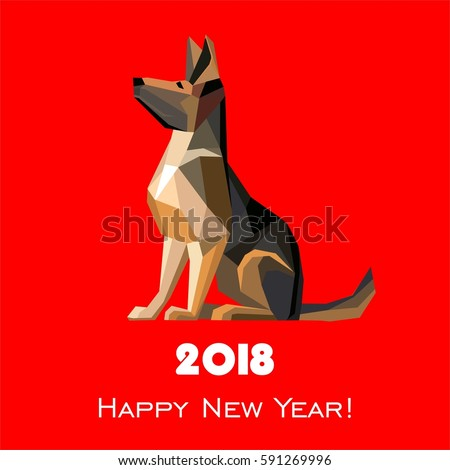 2018 happy new year greeting card stock illustration 591269996 2018 happy new year greeting card celebration red background with dog german shepherd and place m4hsunfo