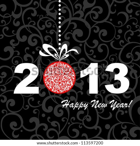2013 Happy New Year greeting card or background.  illustration - stock photo