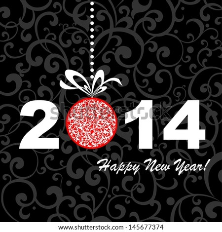 2014 Happy New Year greeting card or background.  illustration