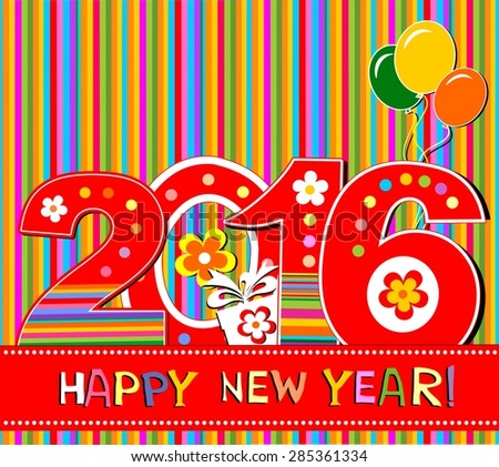 2016 Happy New Year greeting card or background.  illustration - stock photo