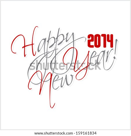2014 Happy new year hand lettering. - stock photo