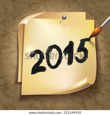 2015 Happy New Year hand lettering on  old vintage paper background. - stock photo