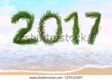 2017 Happy New Year. Holidays.Celebration. All letters and numbers are made of christmas tree branches. Sea surf. Magic seaside blur background